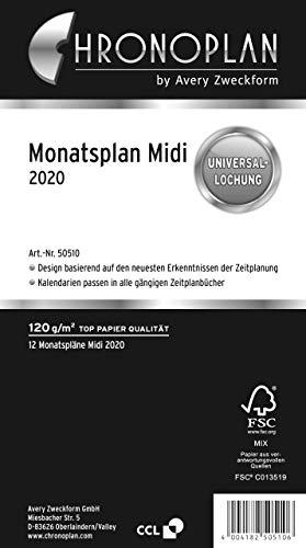Chronoplan 50510 Kalendereinlage 2020 (Monatsplan Midi (96 x 172 mm), Ersatzkalendarium, ideal für übersichtliche Monatsplanung, Universallochung (zum Ausklappen)) weiß