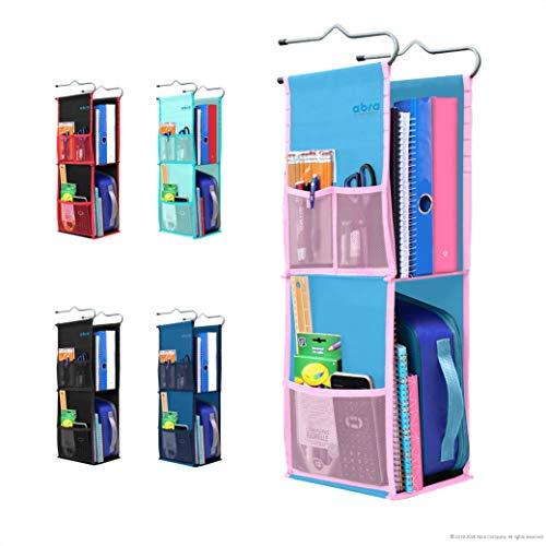 Abra Company 2 Shelf Hanging Locker Organizer for School, Gym, Work, Storage - Upgraded Eco-Friendly Fabric Healthy for Children (Blue/Pink)