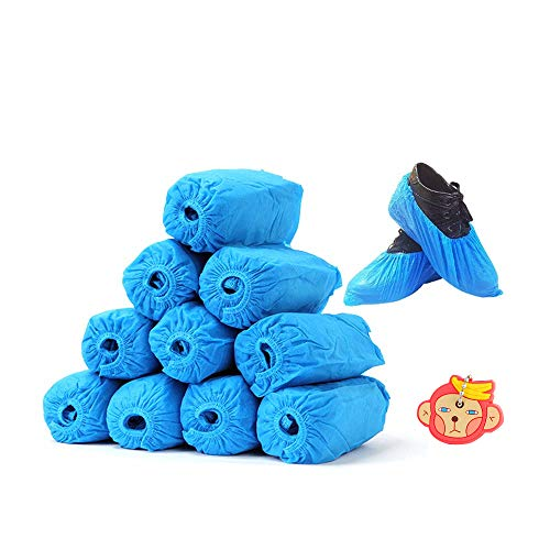 100 Pack Blue Premium Non Slip Shoe Boot Water Resistant & Shoe Covers Disposable Indoor/Outdoor, Protects Carpets/Floors, Size Fits Most