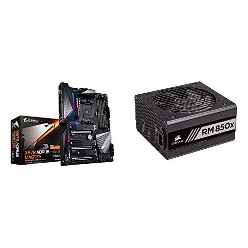 GIGABYTE X570 AORUS Master (Gaming Motherboard) & Corsair RMX Series, RM850x, 850 Watt, 80+ Gold Certified, Fully Modular Power Supply (CP-9020180-NA)