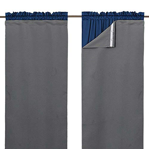 """NICETOWN Blackout Drapery Liners for 84 inch Curtains - Thermal Insulated Rod Pocket Window Curtain Liners, Light Blocking Drape Liners (1 Pair with Bonus Curtain Hooks, Each is 27"""" x 80"""",Grey)"""