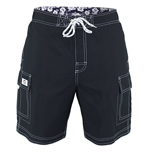Men's Swim Trunks Solid Color Cargo Style Microfiber Swimsuit Black Charcoal X-Large