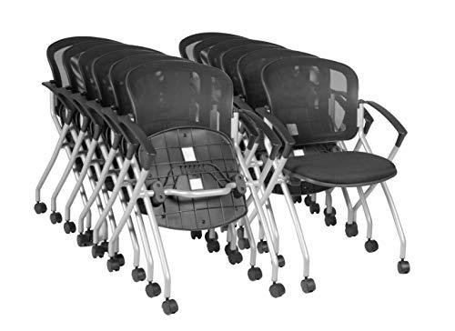 Regency Etta Nesting Chair with Flip-Up Seat, Set of 12, Black