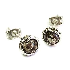 Turritella Agate & Sterling Silver Stud Earrings