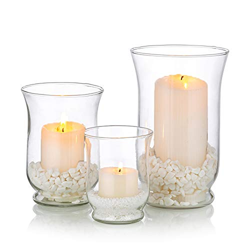 Hurricane Candle Holder 3Pcs Glass Pillar Candle Holder Clear Hurricane Vase Christmas Halloween Centerpieces Fit for Tea Light Votive Pillar Floating Candle Wedding Table Dining Room Garden Decor