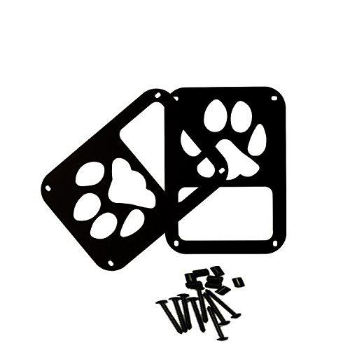 SXMA Taillight Cover Trim Guards Protector,Black Stainless Steel Guard Light Cover Kit for Jeep Wrangler JK JKU Sports Sahara Freedom Rubicon X & Unlimited 2007-2017(Black) (Dog Paw Logo)