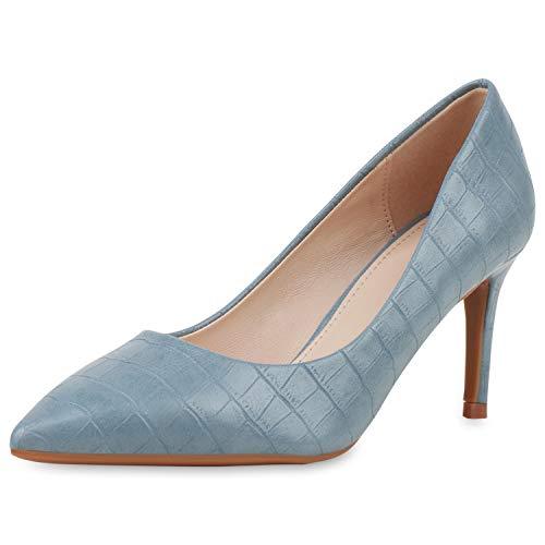 SCARPE VITA Damen Spitze Pumps Stiletto Mid Heels Kroko-Optik Schuhe Business Absatzschuhe Elegante Abendschuhe 189644 Hellblau Kroko 40