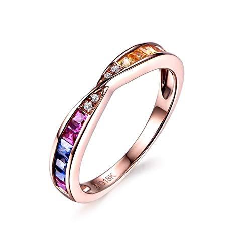 Ubestlove Rosegold Ring Piercing Mama Geschenk Schmuck Diamant Akzentuiert Ring 0.61Ct 56