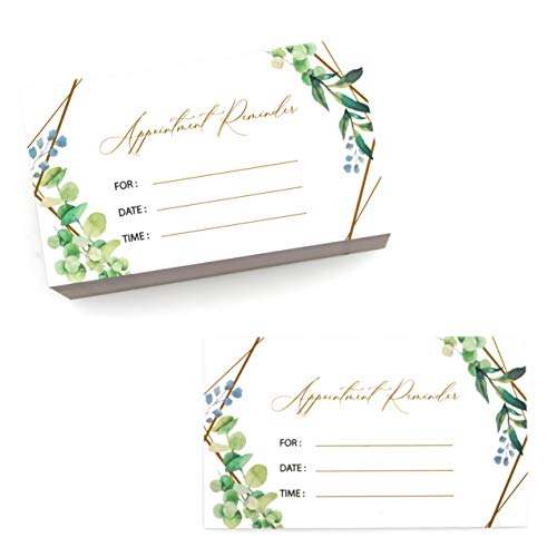 Appointment Reminder Cards (100 Count), Green Leaves Design, neutral design for business use, hair salon, nail salons, therapists, doctor, dental, 3.5 x 2 Inches