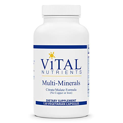 Vital Nutrients - Multi-Minerals - Citrate/Malate Formula (No Copper or Iron) - High Potency Gentle Formula With High Nutritional Value - 120 Vegetarian Capsules per Bottle