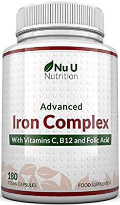 Iron Supplement, 180 Vegan Capsules with Vitamin C, B12 & Folic Acid, for Men and Women - Iron Capsules not Iron Tablets, 6 Month Supply - from Ferrous Fumarate - Made in The UK