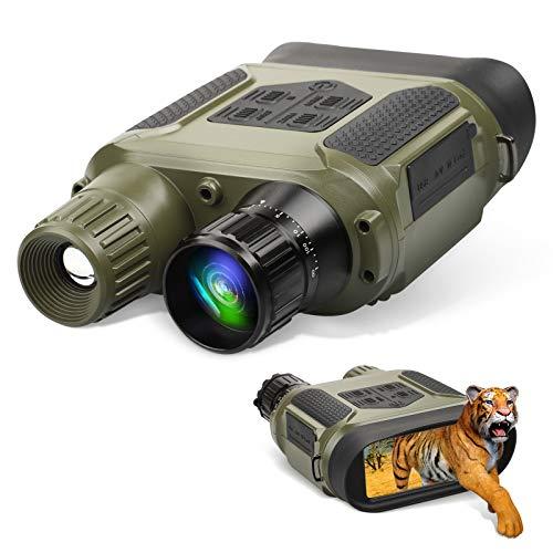 Binocolo per la Visione Notturna Binocolo per Visione Notturna a Infrarossi per Adulti Occhiali per Visione Notturna Digitale HD Oscurità Completa per Uso Diurno e Notturno - con 32G Card (Verde)