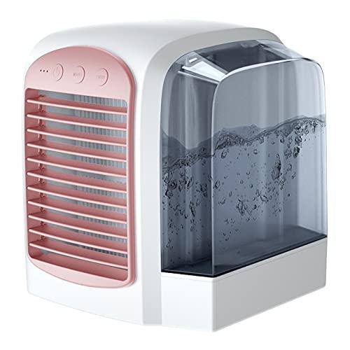 Mini aire acondicionado portátil con tanque de agua, equipo de refrigeración que puede contener agua helada, oficina y dormitorio familiar, rosa