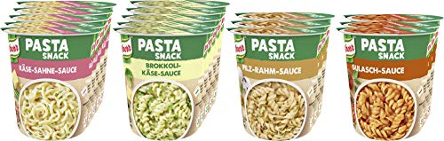 Knorr Pasta Snack Becher, Käse-Sahne Sauce (5x), Brokkoli Käse Sauce (5x), Pilz-Rahm Sauce (3x), Gulasch Sauce (3x), 1er Pack (1 x 1.09 kg)