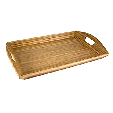 Totally Bamboo Butler's Serving Tray with Handles, 23  x 15  x 5