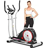 ANCHEER Elliptical Machine for Home Use, Magnetic Elliptical Training with Pulse Rate Grips and LCD Monitor, Smooth Quiet Driven for Home Gym Office Workout