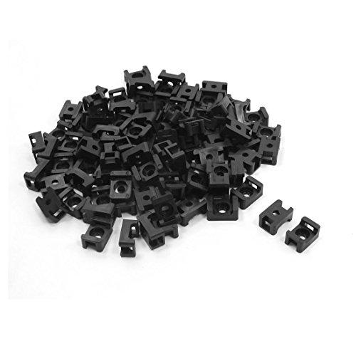 Sourcingmap Type de Selle Lot de 100 Serre-câbles Ensemble Fil et Support Noir