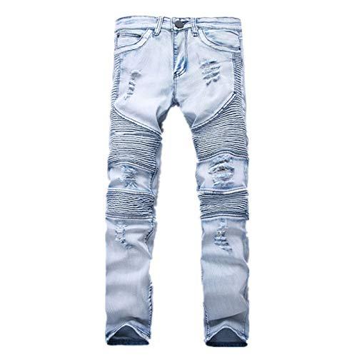 LSSM Pantalones De Moda EláSticos Delgados Arrugados De Tendencia De La Personalidad De Los Pantalones Vaqueros De Los Hombres Pantalones Cortos De Tiro Alto Pantalones Cortos De Talle Azul 28