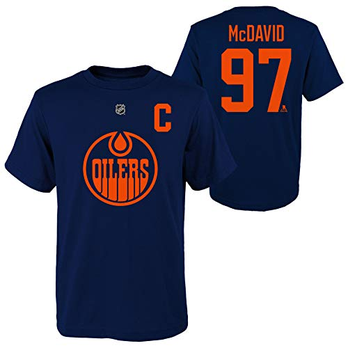 Connor McDavid Edmonton Oilers Youth 3rd Jersey Captain Name and Number T-Shirt - Size Youth Small (8)