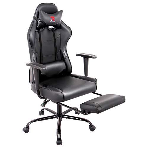 RIMIKING Ergonomic Gaming Chair with Footrest - Adjustable Swivel Leather Racing Computer Desk Chair with Headrest and Lumbar Support Ergonomic Design for Women Men Black
