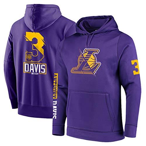 HS-XP Hombres Baloncesto Hoodedies - NBA Los Angeles Lakers # 3 Anthony Davis - Joggers cómodo Caliente Camiseta de Deportes,Púrpura,XL(170~178CM)