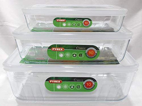 Pyrex, Set of 3 Pyrex Dishes with Plastic lids Free UK Postage. Sizes - 19cm - 22cm - 25cm