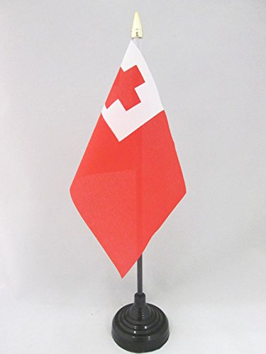 AZ FLAG TISCHFLAGGE Tonga 15x10cm goldene splitze - KÖNIGREICH Tonga TISCHFAHNE 10 x 15 cm - flaggen