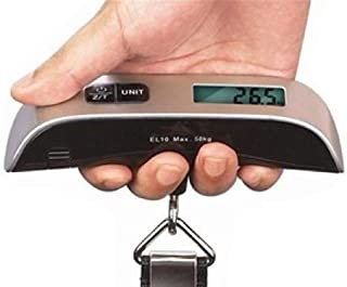 50kg x 50g Digital LCD Handheld Luggage Baggage Weight Scale Thermometer (Color: Black & Silver)