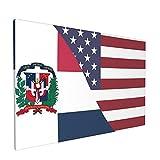 Impresiones de arte de pared,Bandera de la amistad de República Dominicana, Pintura moderna enmarcada óleo sobre lienzo para sala de estar dormitorio principal Decoración 18x12 pulgadas