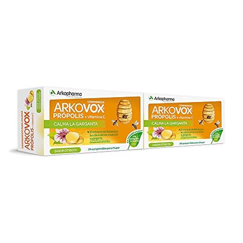 Arkopharma Arkovox Própolis + Vitamina C Pack 48 Comprimidos  Sabor Cítrico  Calma la Garganta, Faringe y Cuerdas vocales   Ayuda al Funcionamiento Normal del Sistema Inmune   Sin Azúcares Añadidos