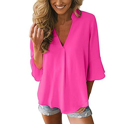 ESAILQ Damen Feste Schößchen-Hülsen-Chiffon- Bluse-Oberseiten(XL,Pink)
