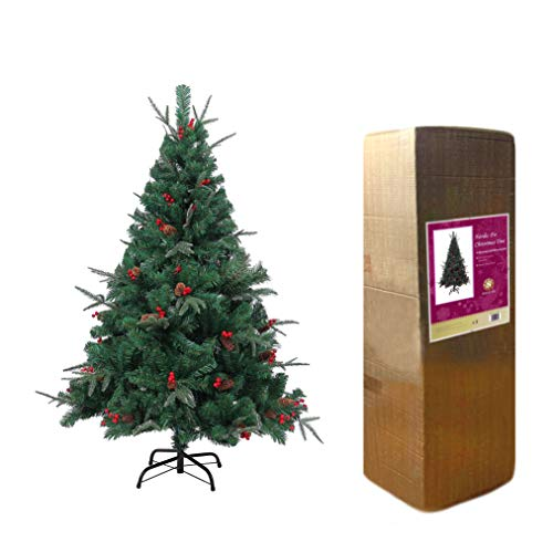 SHATCHI Nordic Fir 5ft Artificial Christmas Tree Naturally Decorated with Pine Cones and Barries with Frozen Tips, Green
