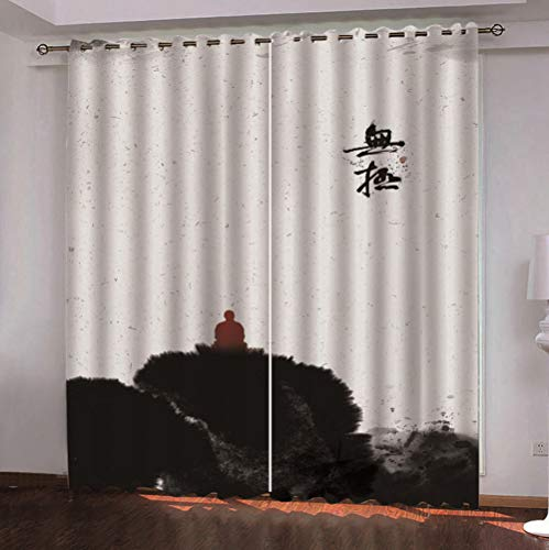 QDDRL Gordijn voor ramen, woonkamer, slaapkamer, verduistering, thermisch gordijn met oogjes, voor thuis, modern, 2 panelen, abstracte kunst