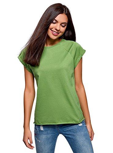 oodji Ultra Damen Baumwoll-T-Shirt Basic mit Unbearbeitetem Saum, Grün, DE 42 / EU 44 / XL
