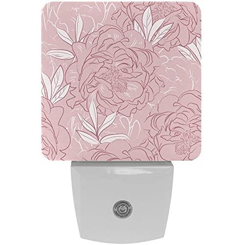 Lámpara de noche con diseño de flores de peonía, color gris, rosa, con luz de noche para niños, con movimiento automático para dormitorio, baño, escaleras, cocina, pasillo