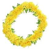 Sharplace Chrysanthème de Soie Couronne de Fleurs Artificielle Décor Enterrement - 60cm - Jaune
