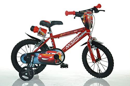 Cars Kinderfahrrad Lightning McQueen Jungenfahrrad – 14 Zoll   TÜV geprüft   Original Lizenz   Kinderrad mit Stützrädern - Das Fahrrad aus Cars als Geschenk für Jungen