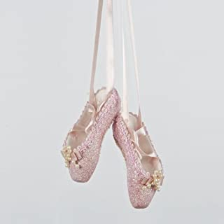 KURT ADLER PINK GLITTER BALLET SHOES ORNAMENT