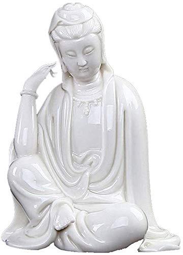 YANRUI Guanyin cerámica Estatua decoración Chino Sentado Buddha Ming y Qing clásico Buda Estatua Escultura Blanco Porcelana guanyin estatuilla (Color : #3)