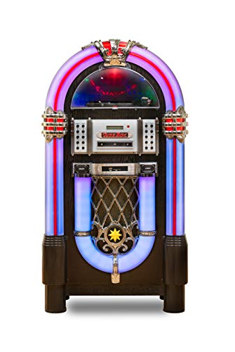 Roxby Retro Full Size Jukebox Cd Player With Bluetooth Stereo Record Player Radio Usb Aux Port Sd Card Slot And Remote Control Juke Box . Multicolored Lighting And External Adapter With A Wooden Frame