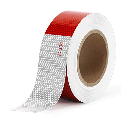 Kohree Reflective Tape 2 inches x 50ft Reflective Safety Tape, DOT C2 Red White Waterproof Reflector Tape for Trailers, RV, Camper, Boat