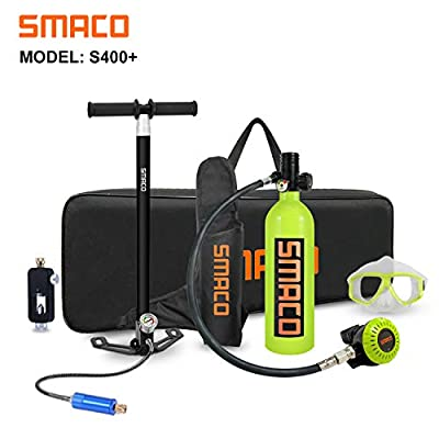 Scuba Tank for Diving Oxygen Tank for Breathing Underwater Device Dive Equipment Support 15-20 Minutes?340 Breathe Times? Mini Scuba Tank with Pump Scuba Diving Accessories S400+ Packages D, Green