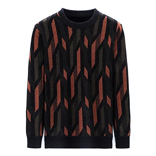 Suéter de Cuello Redondo Delgado Informal a Juego de Colores a la Moda para Hombre, suéter con Personalidad Suave y cómodo, versión básica XXL