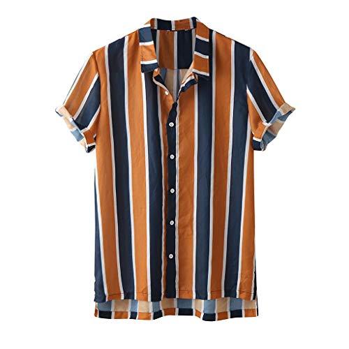 Camisas Hawaianas Hombre Manga Corta 2020 SHOBDW Playa de Verano Camisas Hombres Baratas Tallas Grandes Negocio Camisas Hombres A Rayas Slim Fit Botón Bolsillo Casual Blouse Tops(Naranja,M)