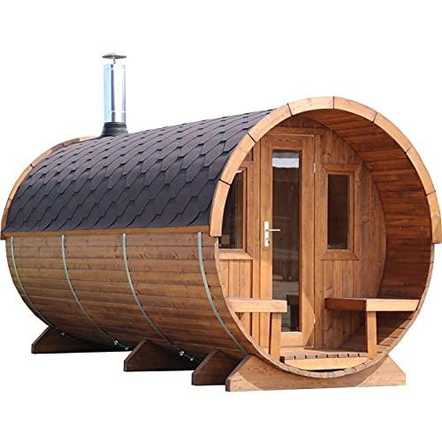 Fasssauna Anna 4m mit Terrasse 2-Raum aus Fichtenholz inkl Montagematerial Via Nordica
