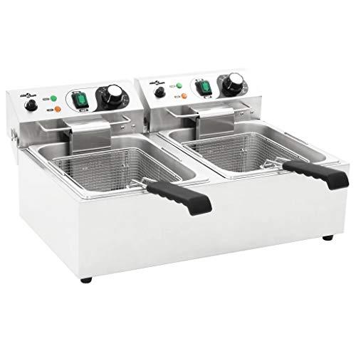 Freidora Eléctrica Doble de Acero Inoxidable 20L, 6000W, Freidora Comercial Profesional con 2 Controlador de Temperatura y 2 Zonas de enfriamiento