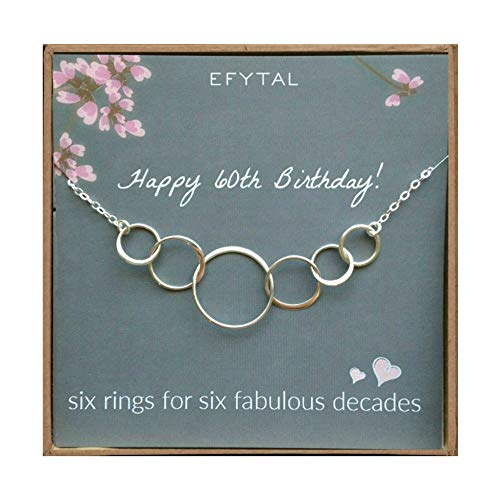 Image of the EFYTAL 60th Birthday Gifts for Women, Sterling Silver Six Circle Necklace for Her, 6 Decade Jewelry 60 Years Old