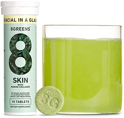 8Greens Skin + Marine Collagen for Beautiful Skin - Effervescent Super Greens Dietary Supplement - 8 Essential Healthy Real Greens in One (3 Tubes / 30 Tablets)
