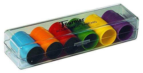 Fournier- Accesorios Parchis en Caja de plástico, Multicolor (521716)