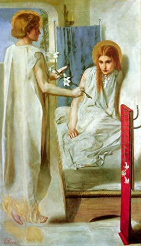Dante Gabriel Rossetti - The Annunciation, Size 22x36 inch, Poster Art Print Wall décor